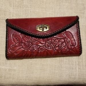 Vintage  Leather Hand Tooled Western Wallet